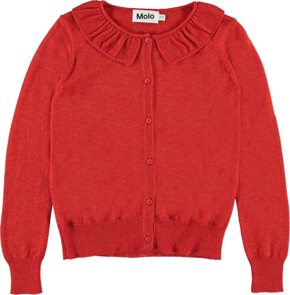 Gwen - Vermilion Red - Red knit cardigan.