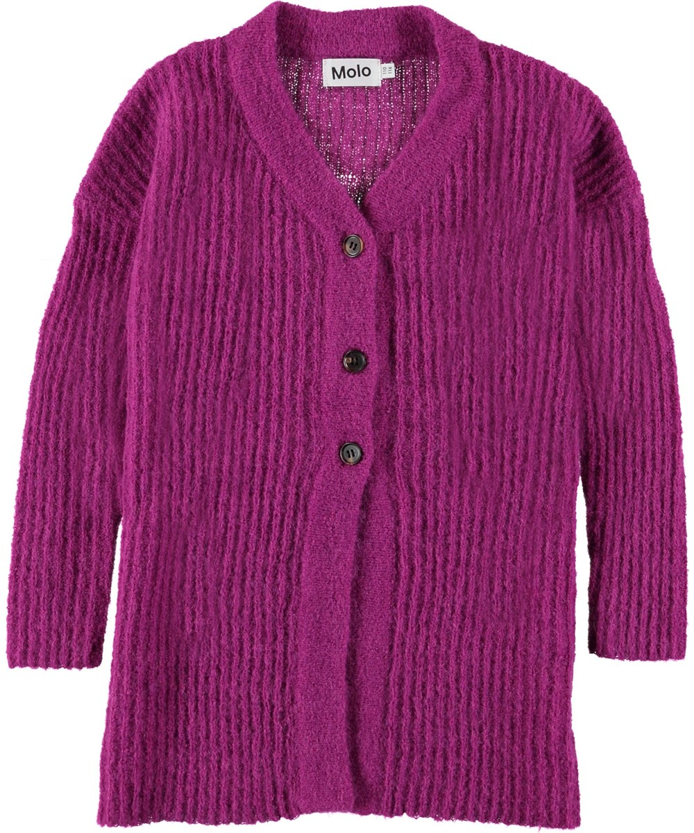 Gwenneth - Wild Purpur - Long purple knit cardigan.