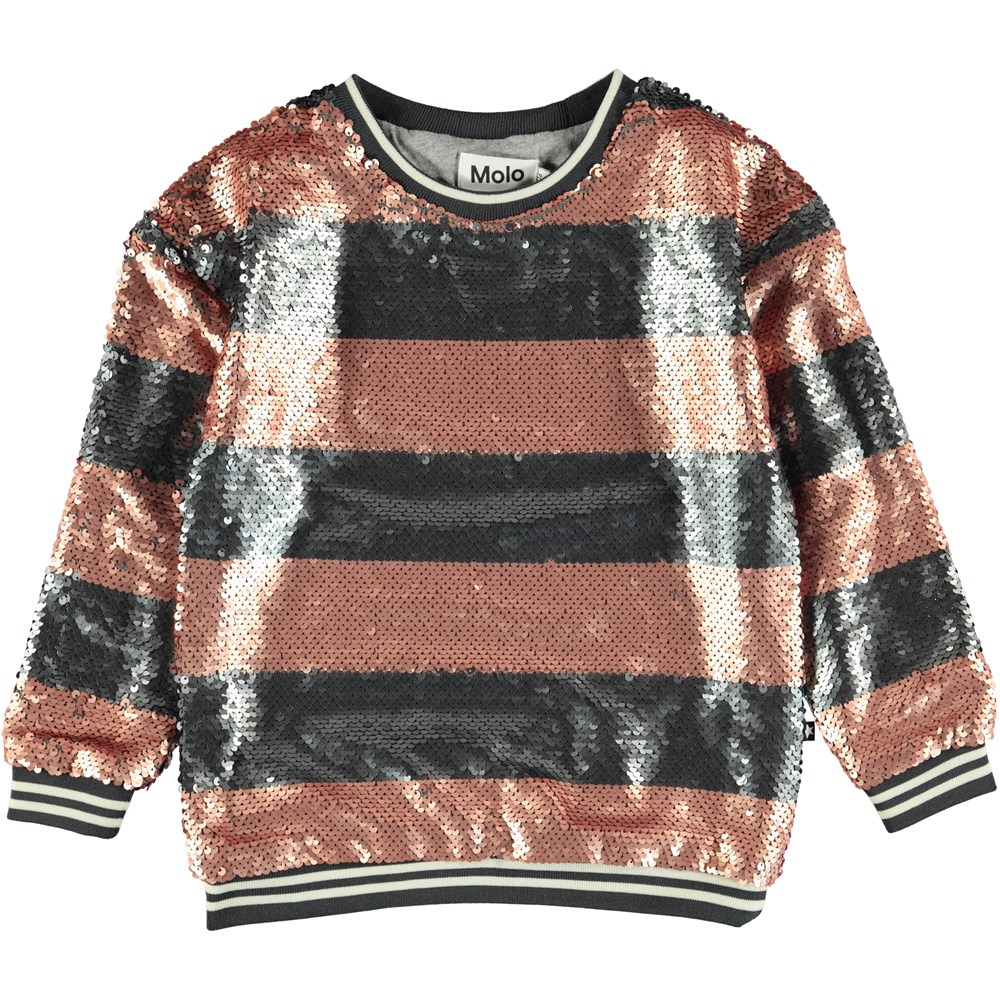 Mabel - Silver Blush Stripe - Striped sweatshirt with coloured sequins