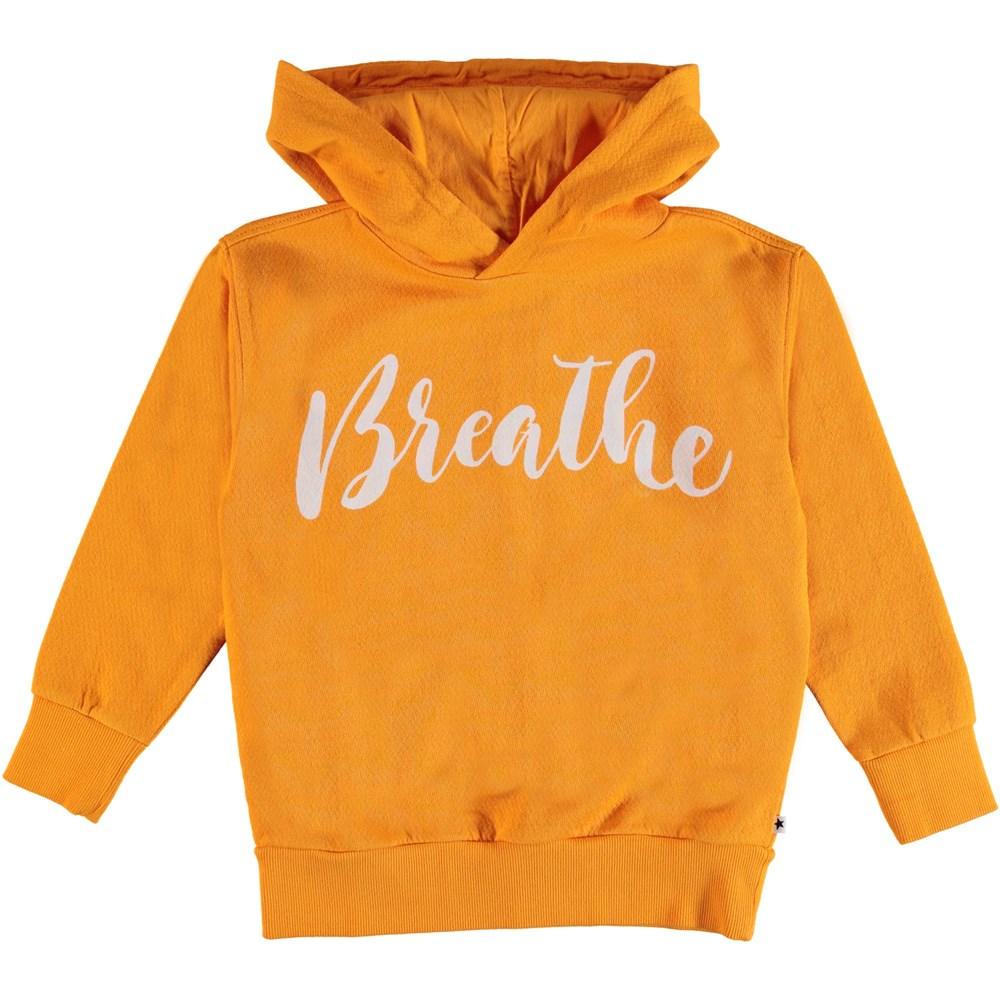 Madelyn - Orange Bloom - Yellow hoodie with text.