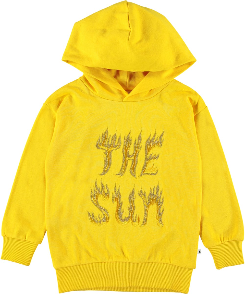 Madelyn - Sun Flare - Yellow hoodie with glitter.