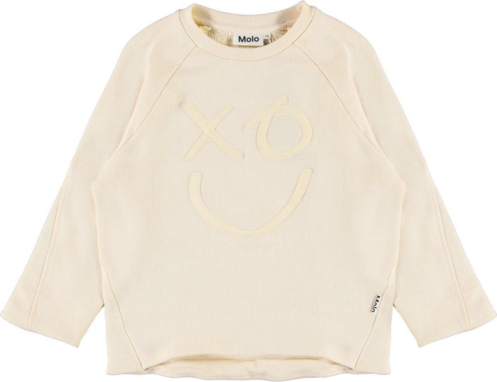 Maggie - Banana Crepe - Light yellow sweatshirt with smiley face