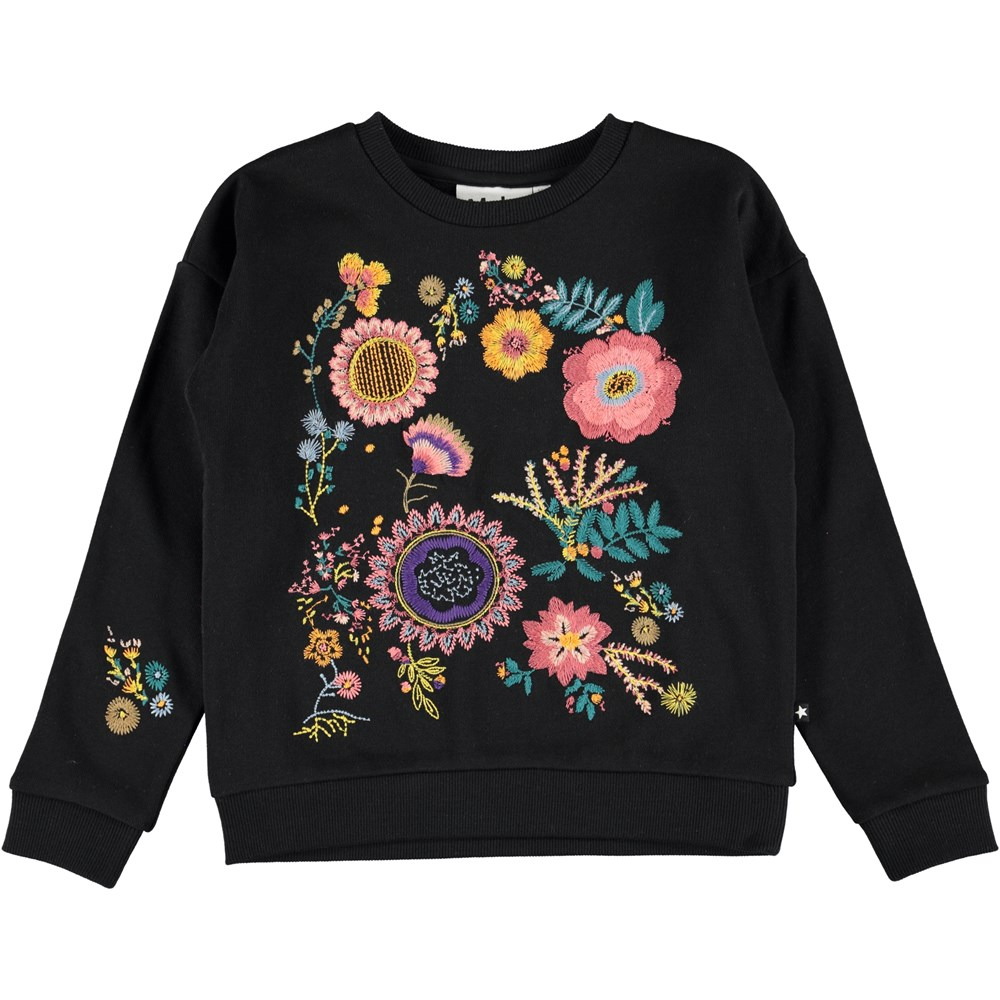 Maila - Black - Black sweatshirt with embroidered flowers