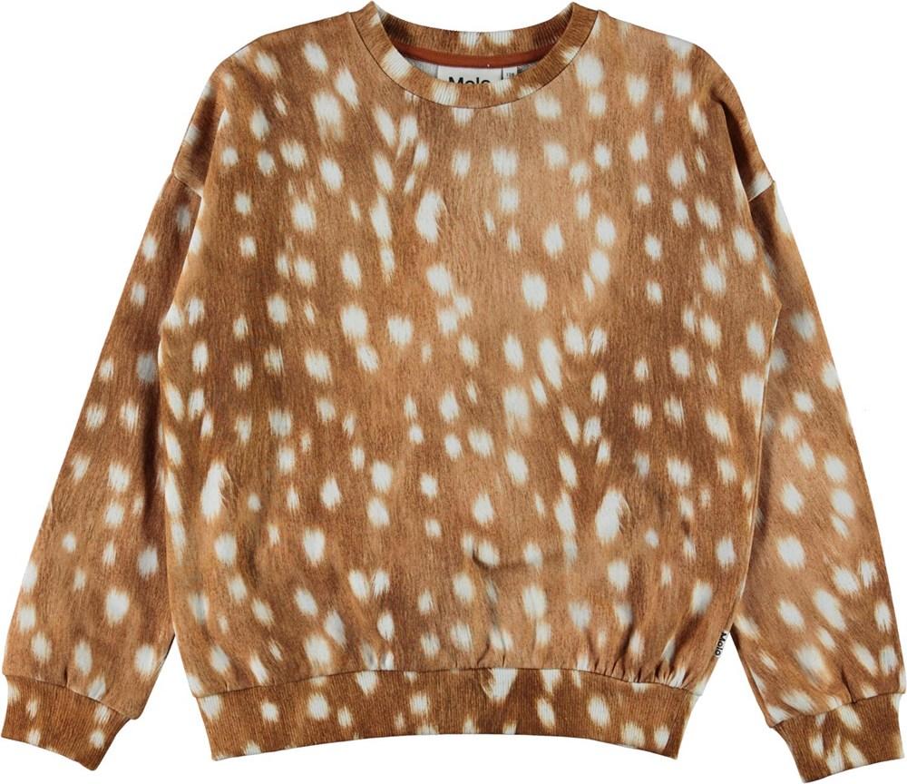 Maja - Fawn AOP - Brown organic sweatshirt with white spots
