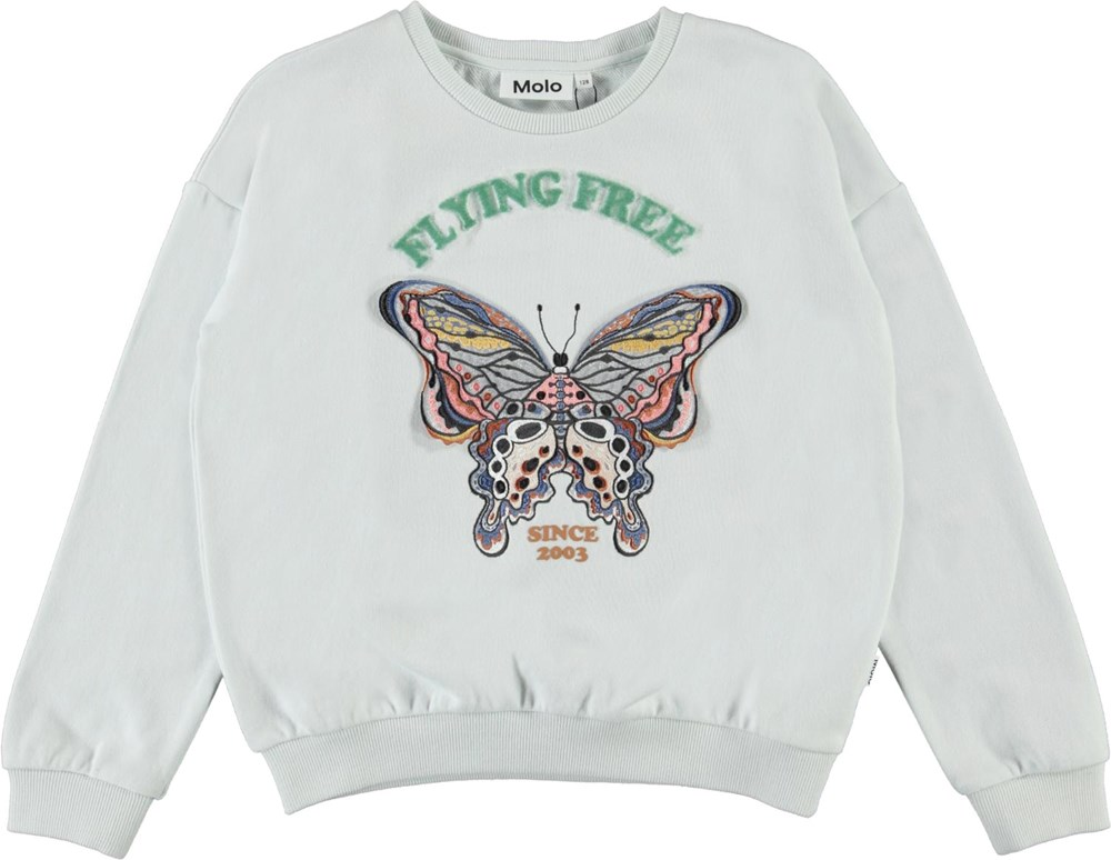 Maja - Flying Free - Light blue sweatshirt with embroidered butterfly