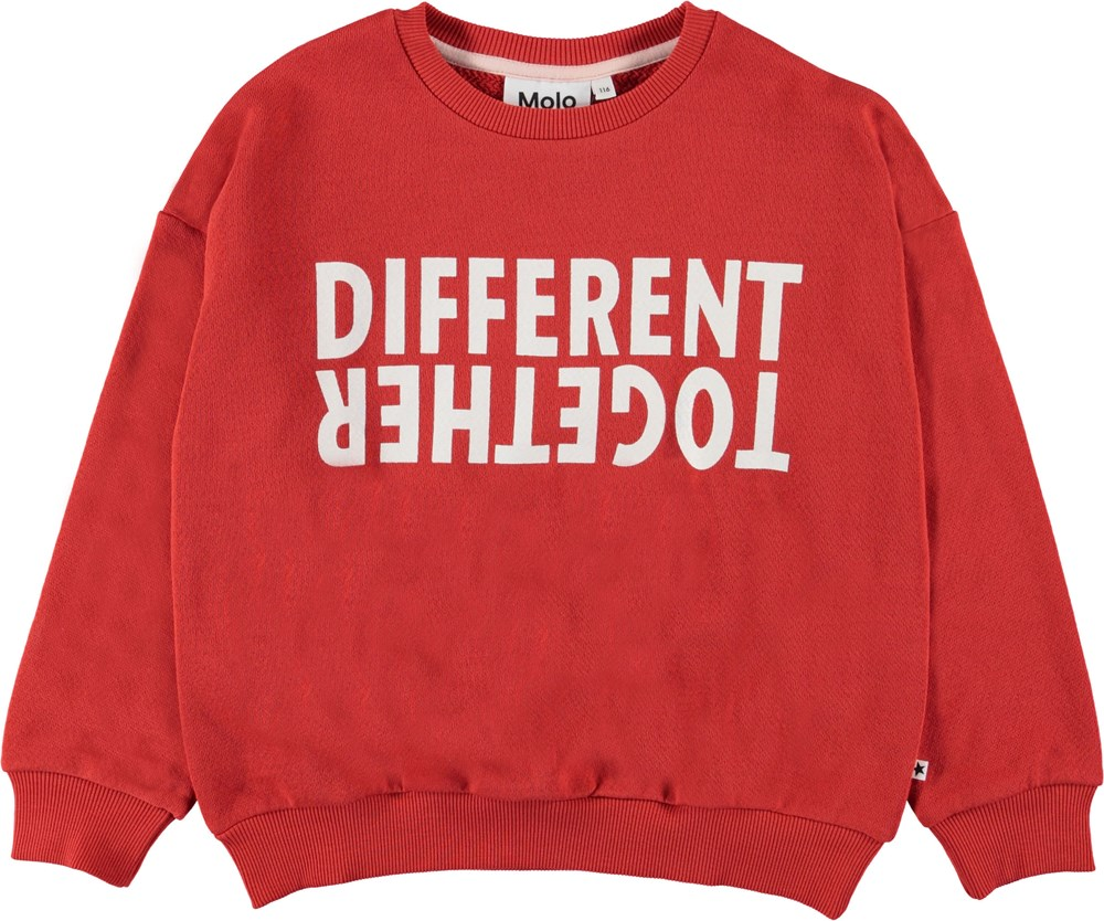 Maja - Vermilion Red - Red sweatshirt with text.
