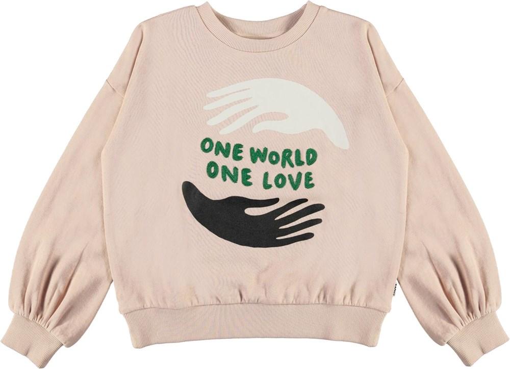 Malena - Petal Blush - Rose organic sweatshirt one love