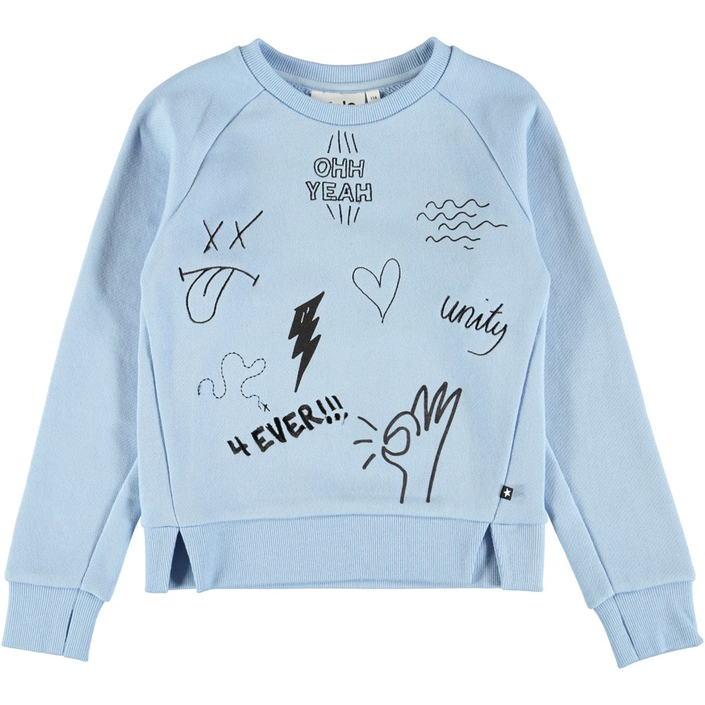 Malika - Power Blue - Light blue sweatshirt with embroidery