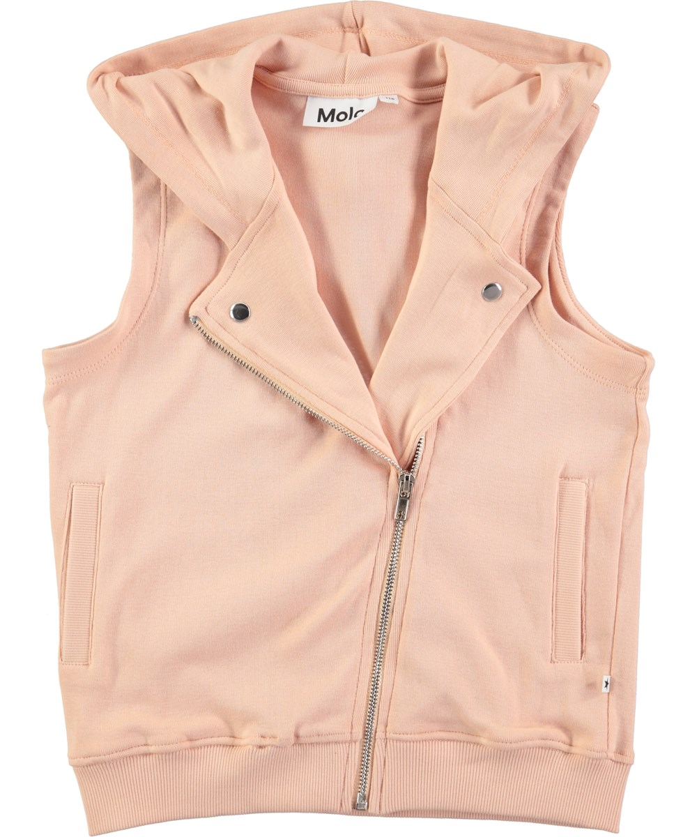 Malinda - Pink Sand - Peach coloured jersey vest with a zipper and hood