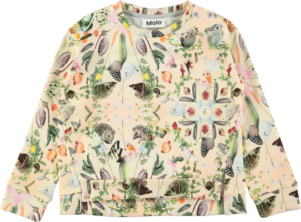f08fcd696b7 Malissa - Eat Your Greens - Peach coloured sweatshirt with digital ...