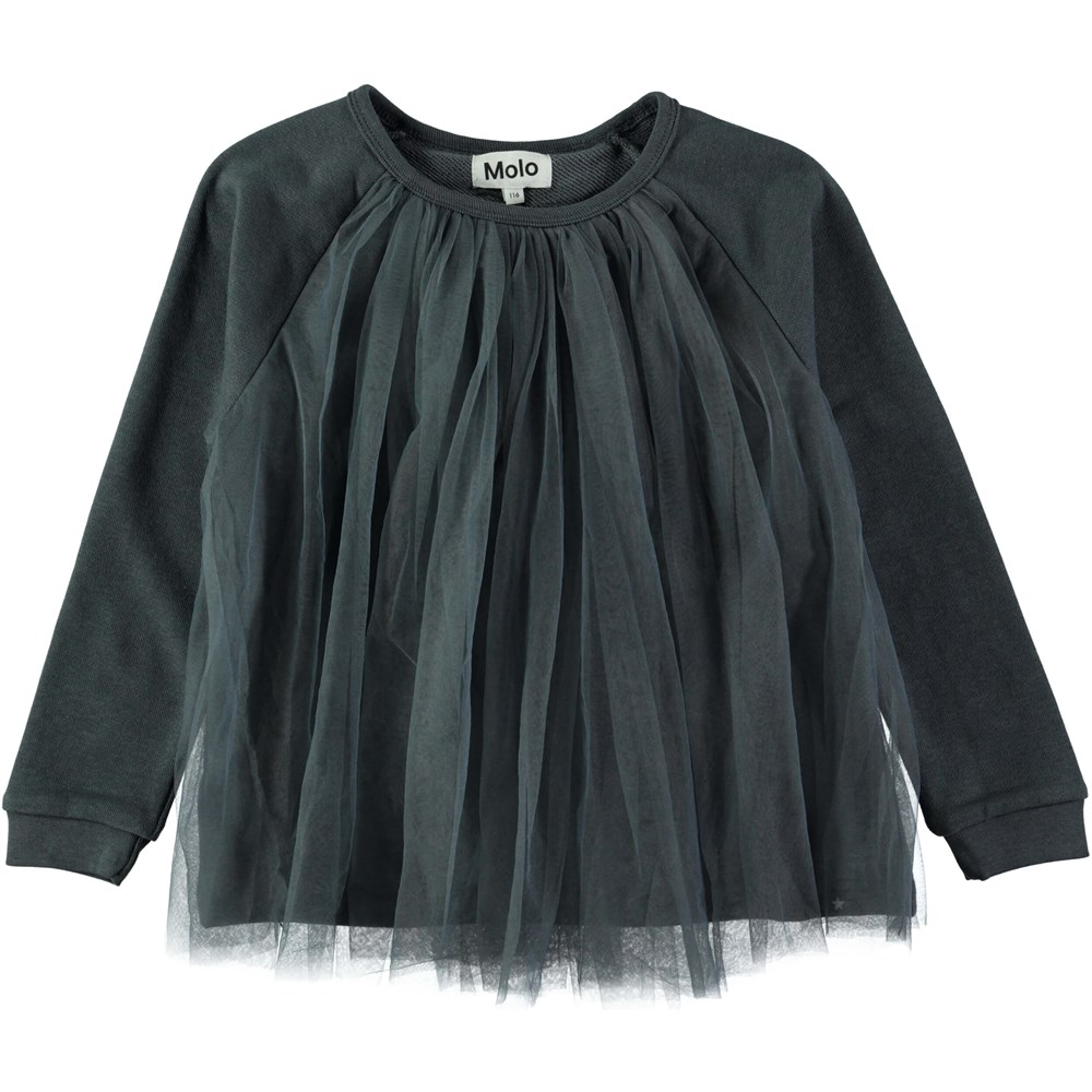 Mallorie - Dove Grey - Petrol green sweatshirt with tulle