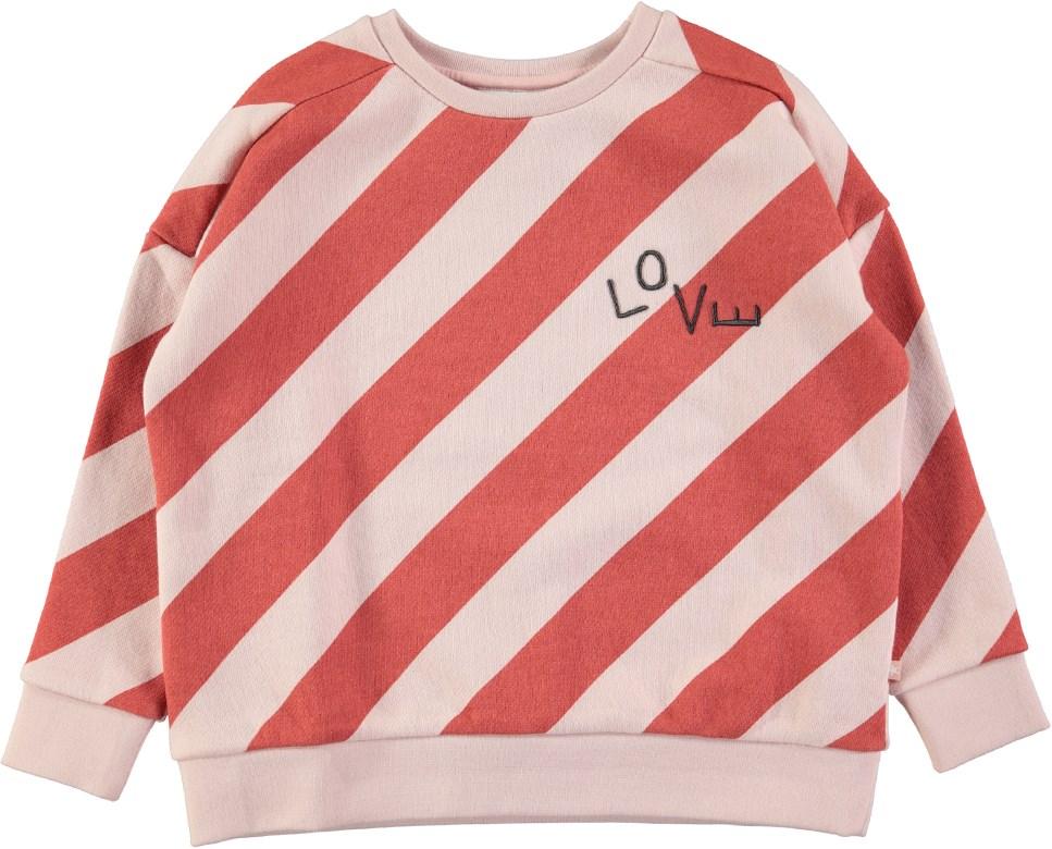 Mandy - Diagonal Stripe - Long sleeve oversized sweatshirt with stripes