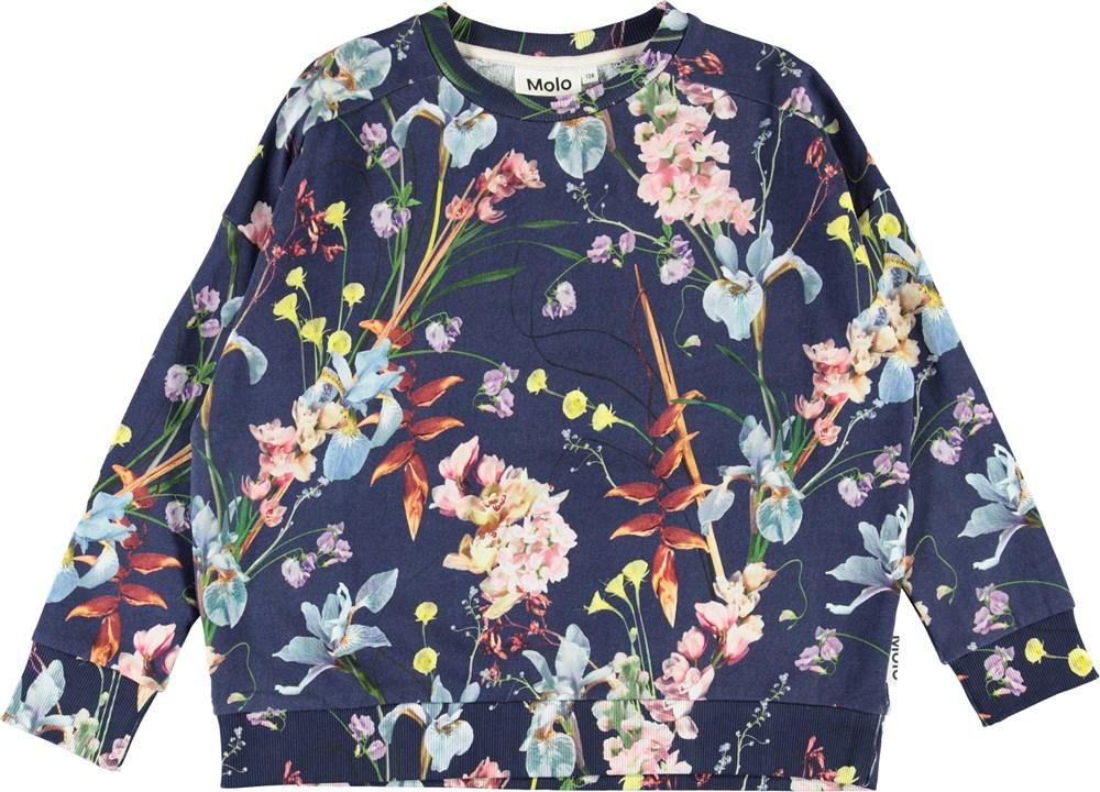 Mandy - Ikebana Blue - Blue organic sweatshirt with flowers