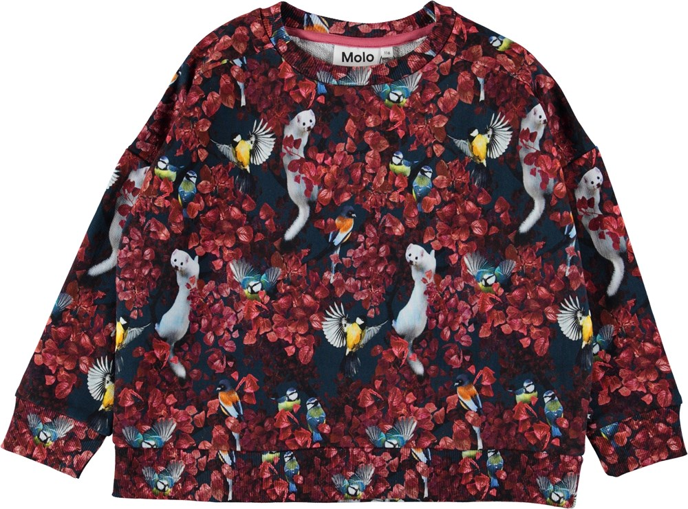 Mandy - In The Treetops - Sweatshirt with animals and leaves.