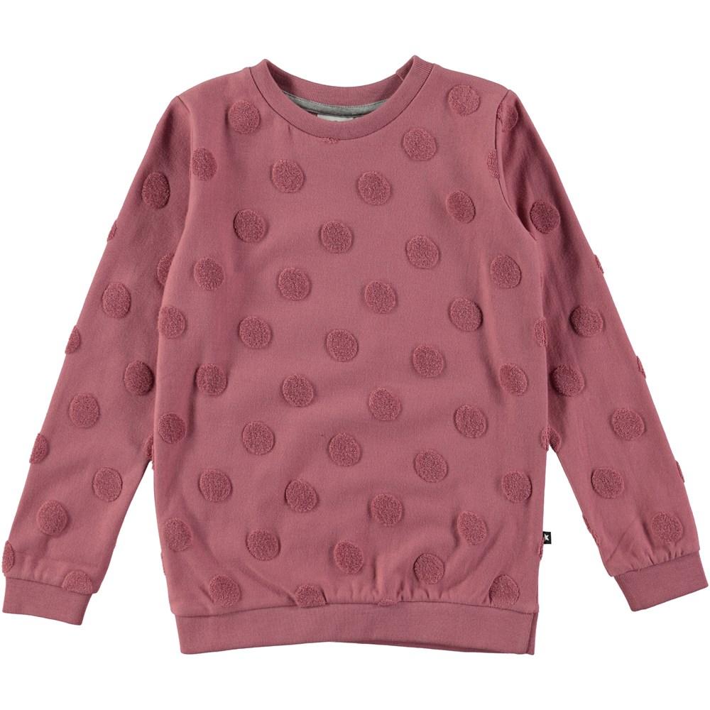 Manee - Fox Glove - dusty rose sweatshirt with dots