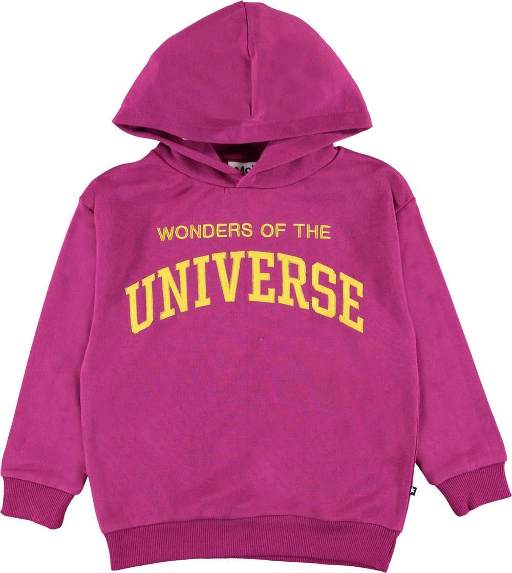 Manuela - Wild Purpur - Purple hoodie with yellow text.
