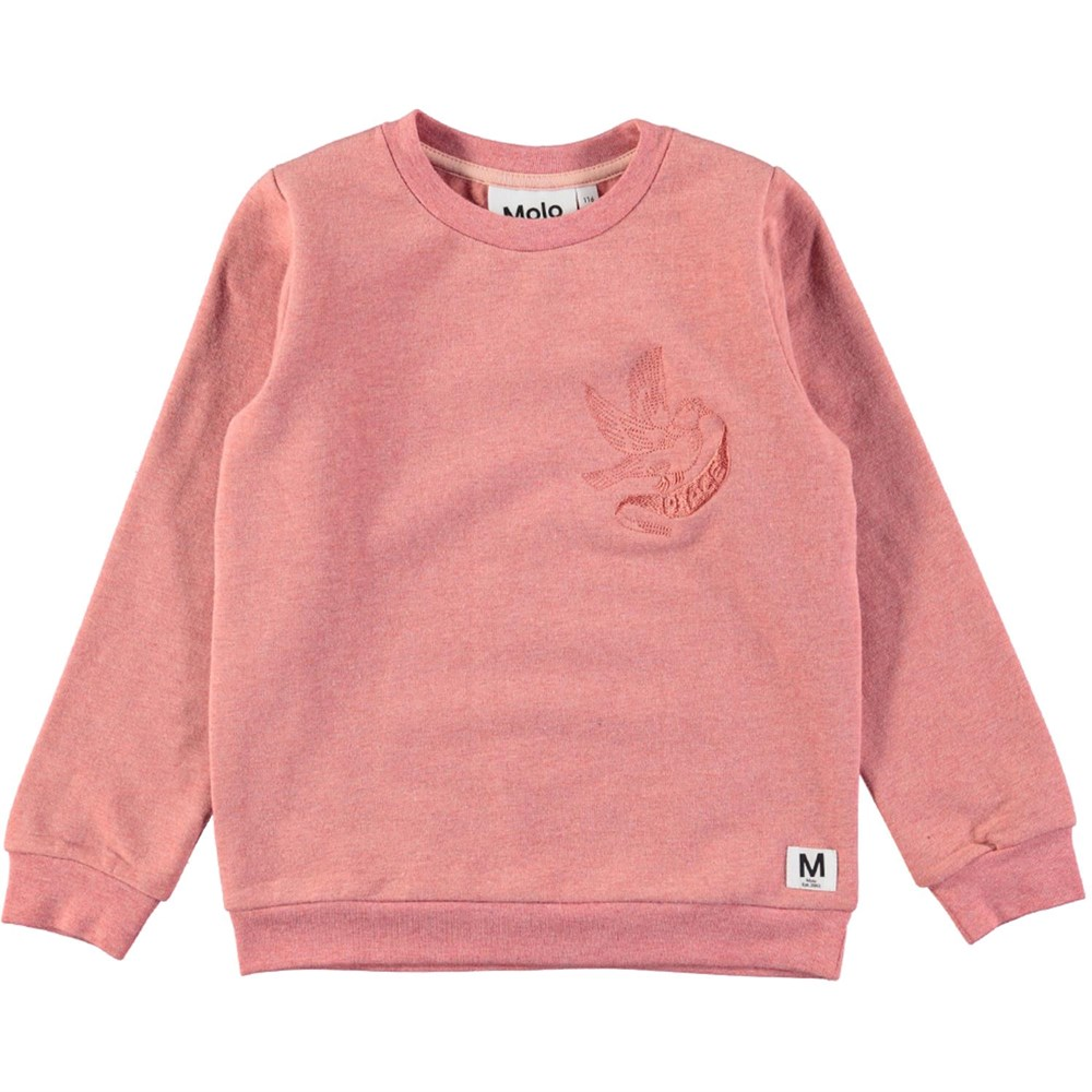 Mara - Autumn Berry Melange - Orange-pink sweatshirt with embroidery