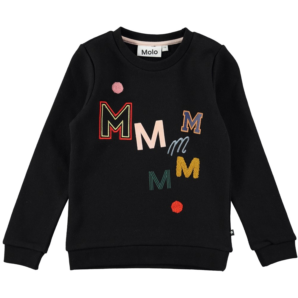 Mara - Black Bean - long sleeve black sweatshirt