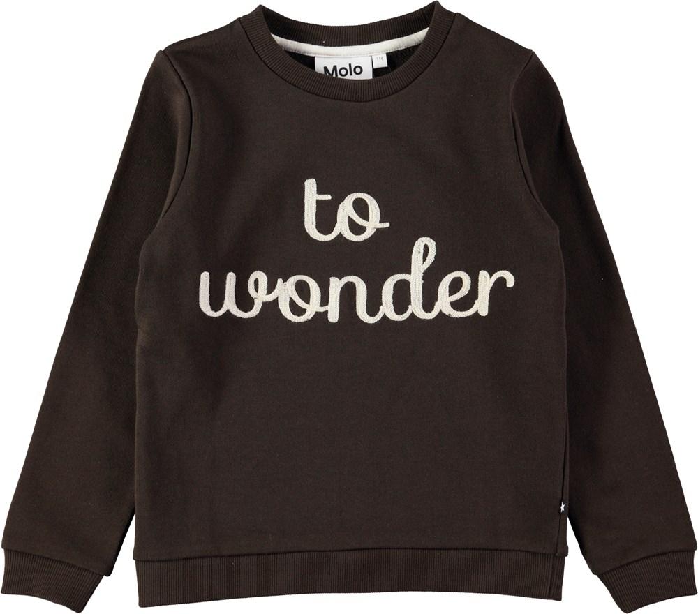 Mara - Chocolate - Dark brown sweatshirt with embroidered text