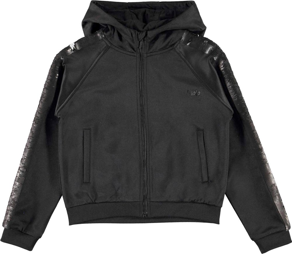 Marabeth - Black - Black track jacket with sequins