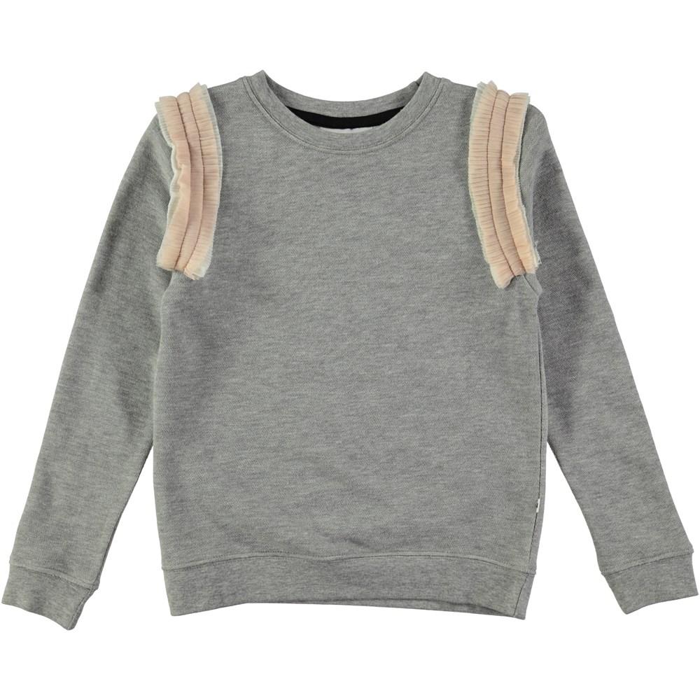 Margie - Tull Rainbow - langærmet grey sweatshirt with tulle