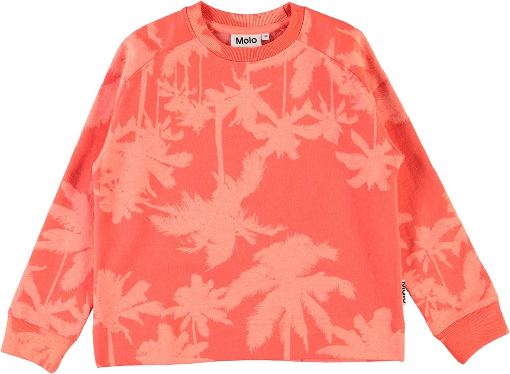 Margit - Neon Coral - Coral red sweatshirt with palm trees