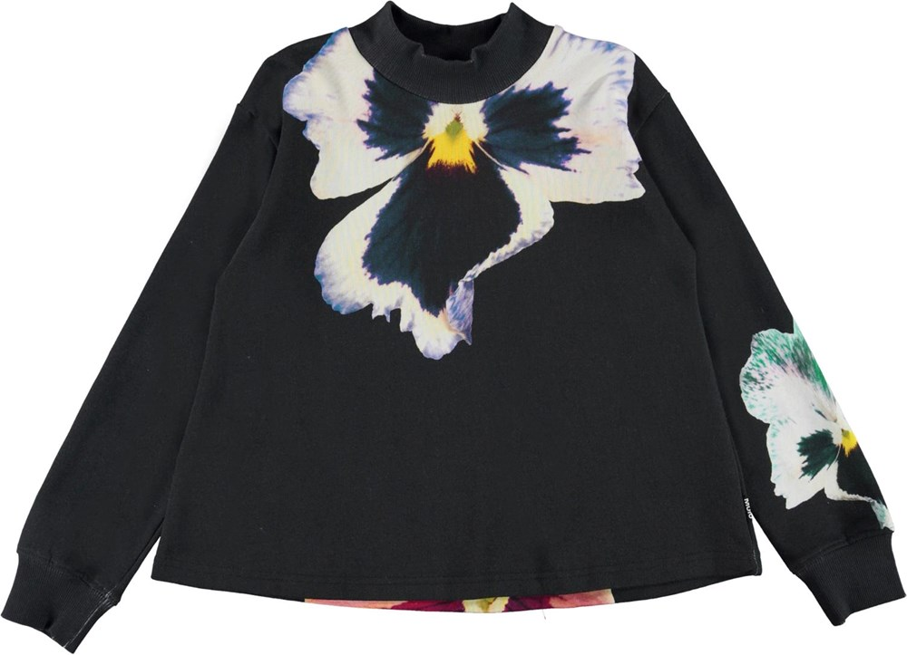 Margo - Fancy Pansy - Organic sweatshirt with large flowers