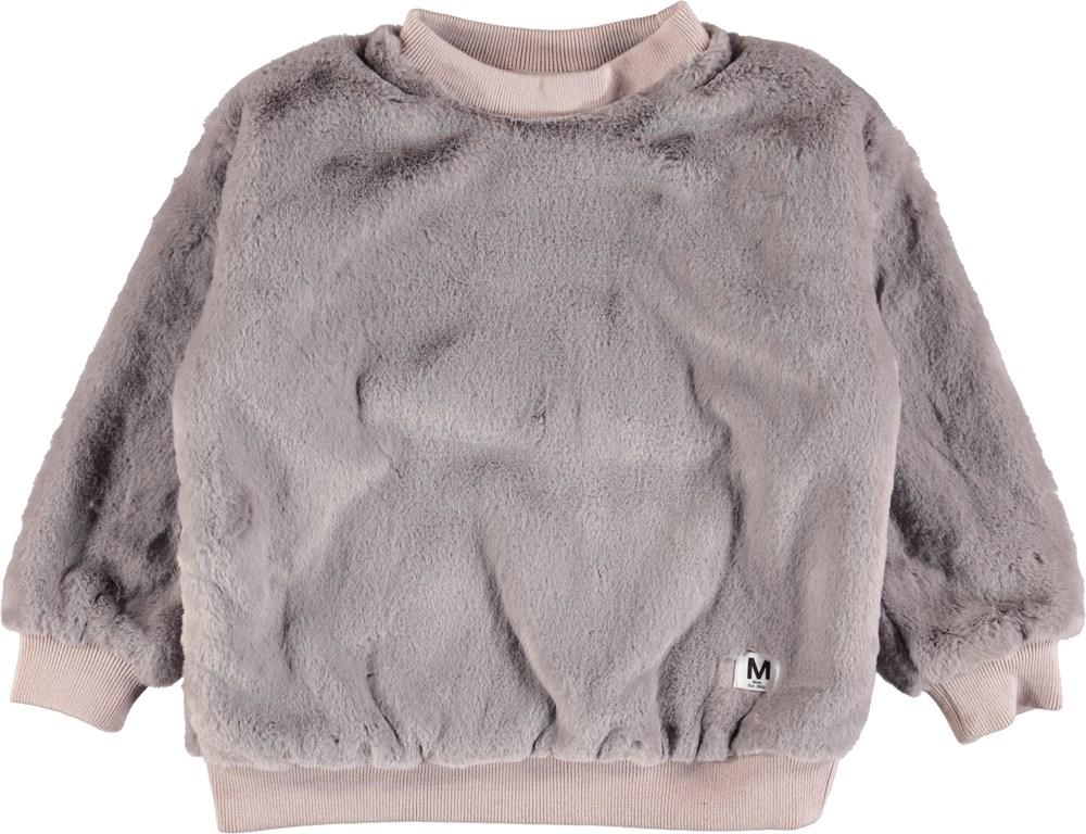 Mariana - Grey Flannel - Grey faux fur sweatshirt