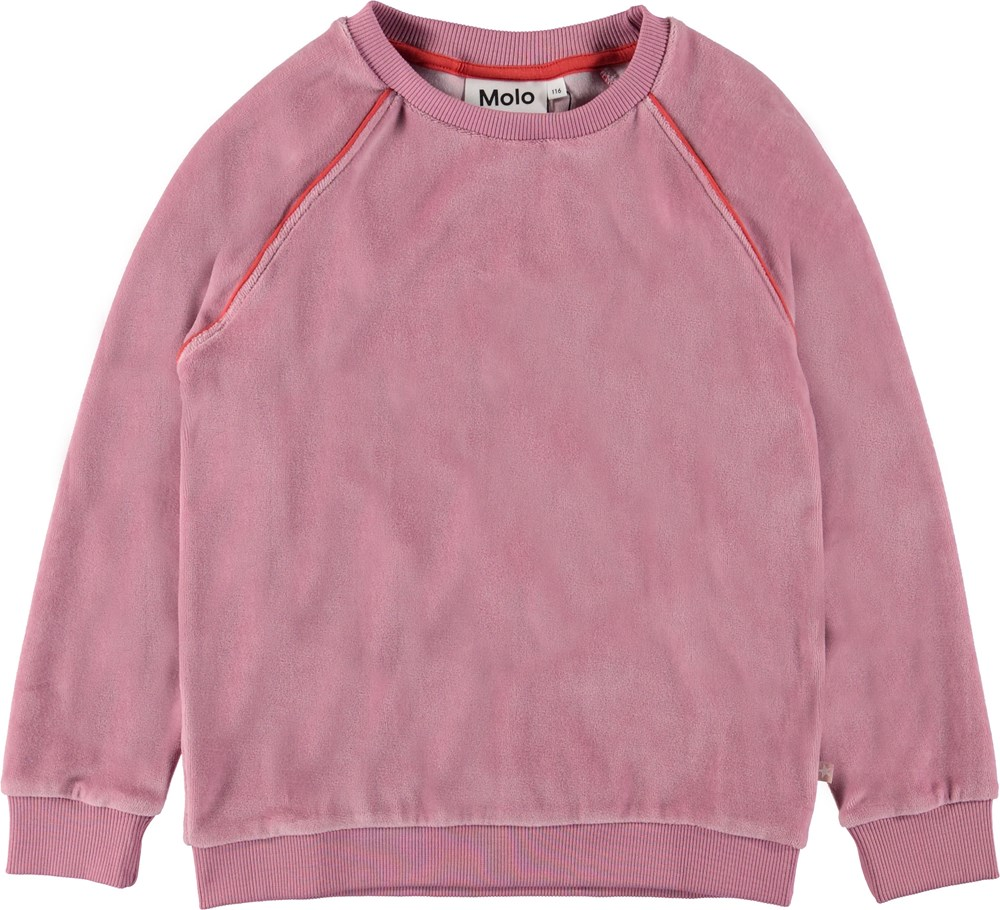 Marie - Purple Haze - Rose velour sweatshirt.