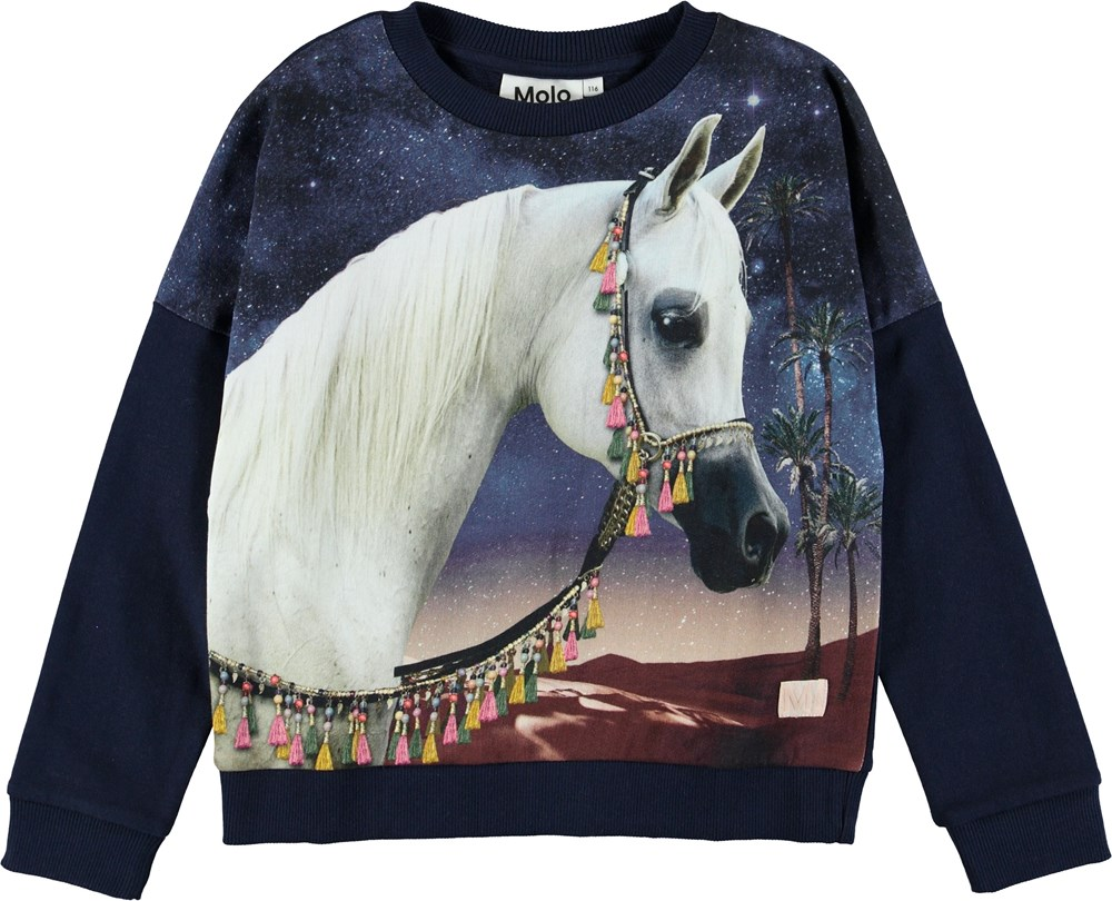 Marigold - Arabian Horse - Blue sweatshirt with horse.