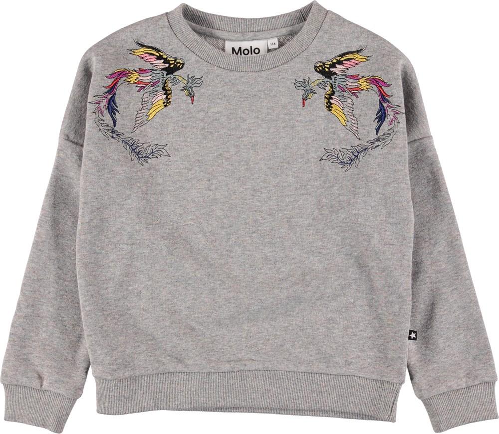 Marigold - Shimmer Grey - Grey sweatshirt with embroidery.