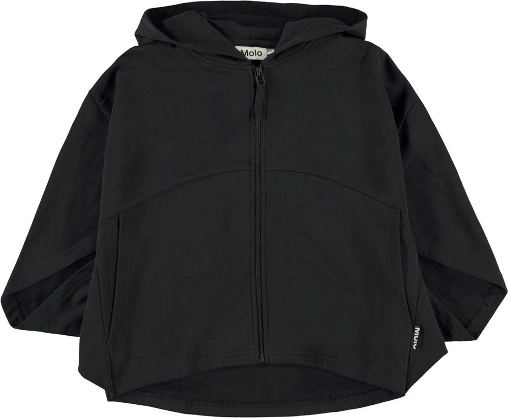 Marilyn - Black - Black organc hoodie with wide sleeves