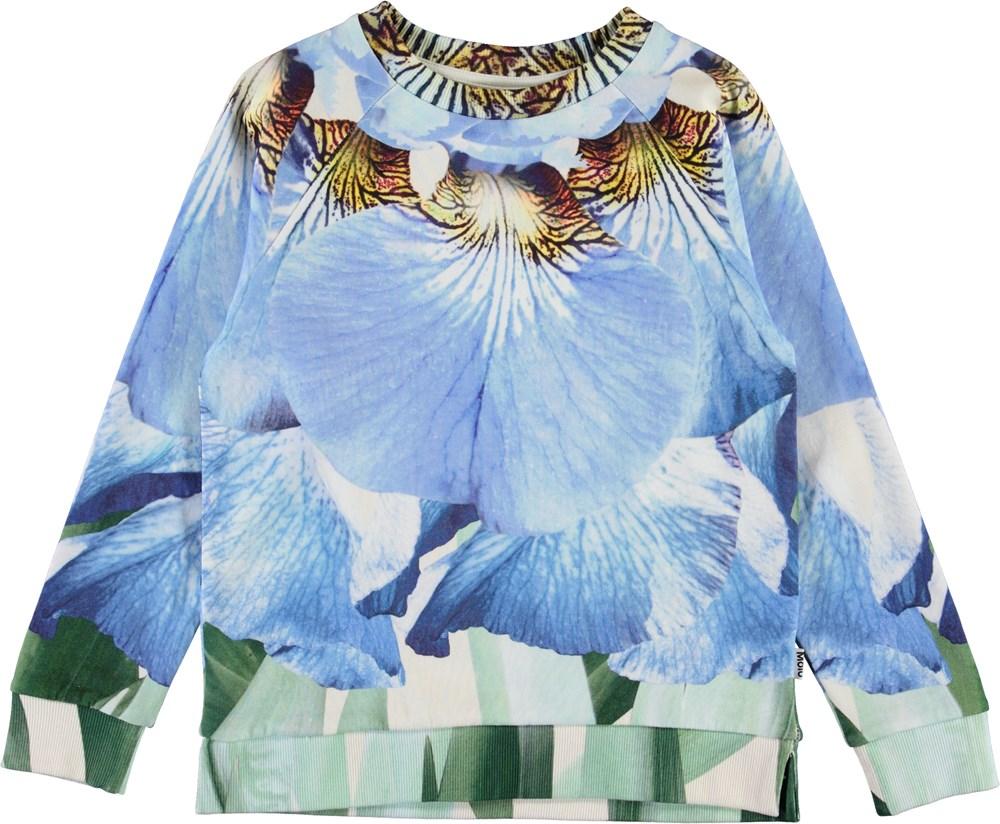 Marina - Blue Iris - Organic sweatshirt with flower petals