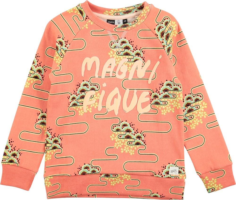 Marina - Nouveau Clouds - long sleeve, orange sweatshirt with print