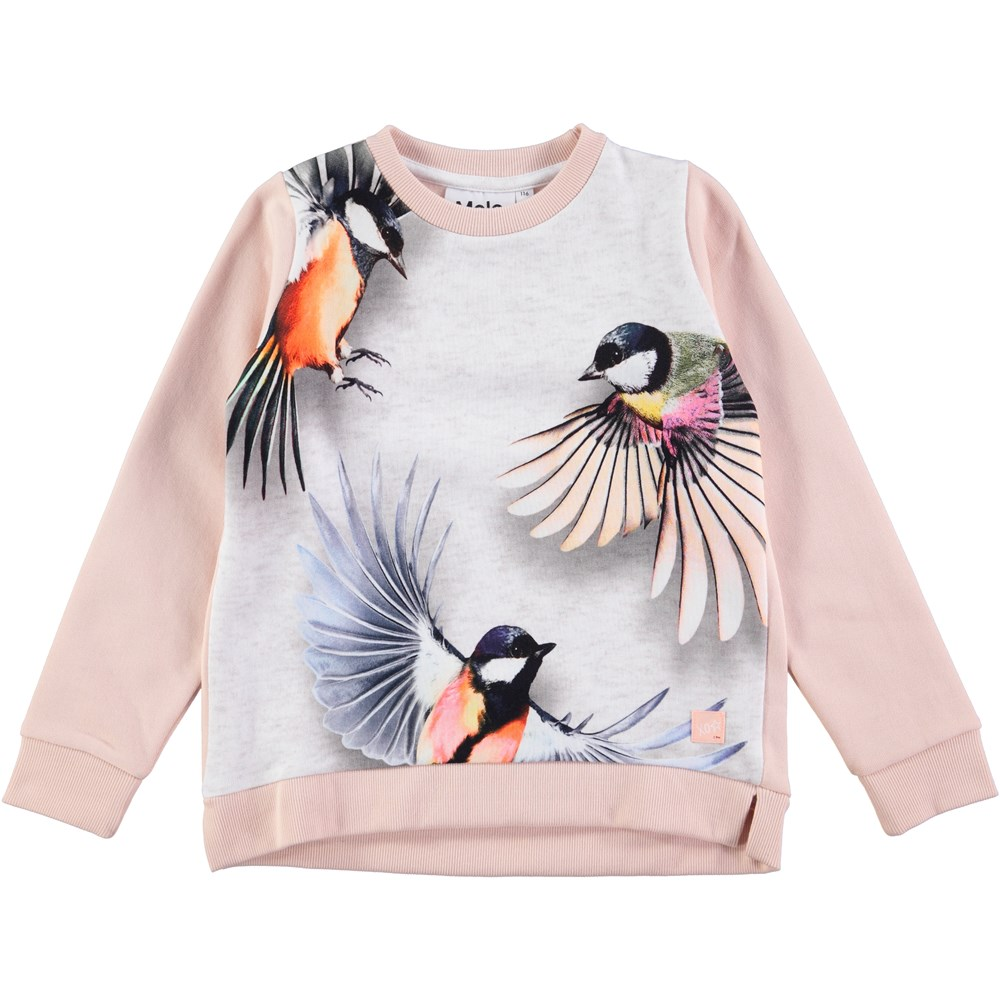 Marlee - Flying - pink sweatshirt with birds