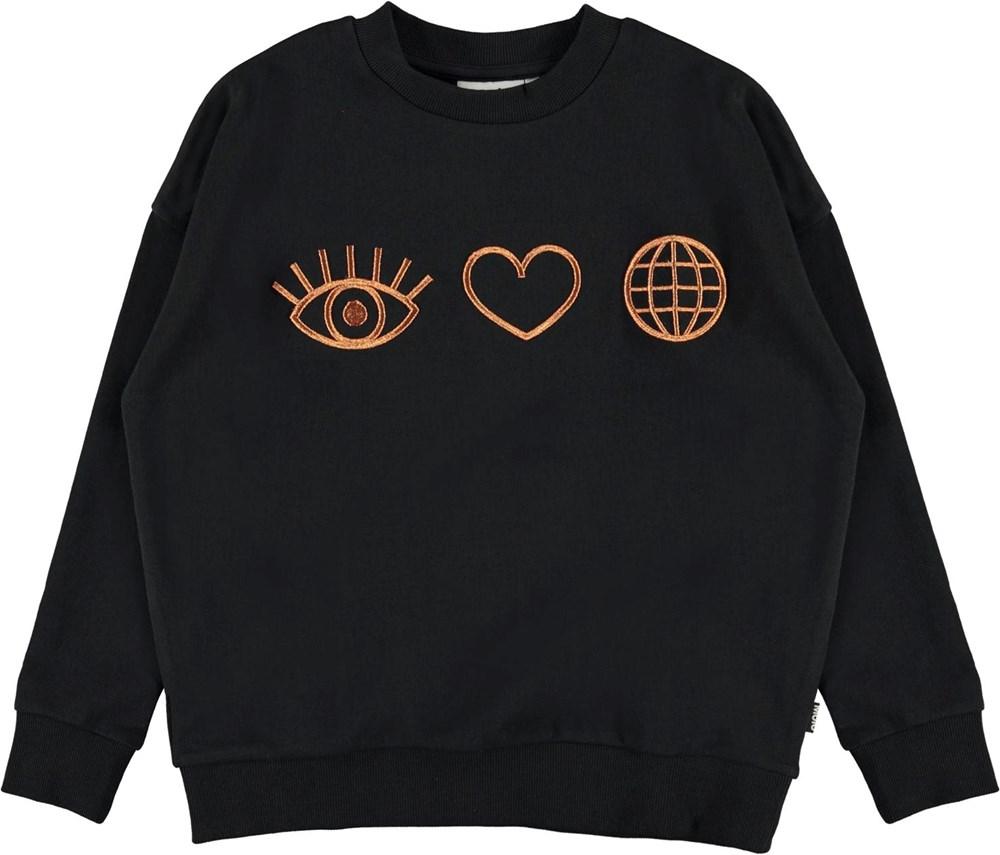 Maxi - Black - Organic sweatshirt with bronze
