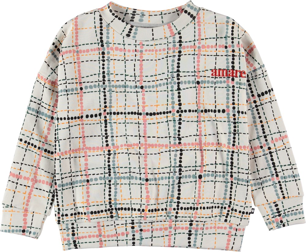Maxi - Dot Check Isoli - Sweatshirt with dots and plaid.