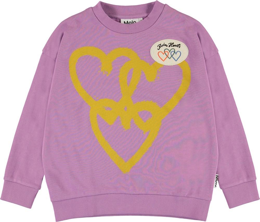 Maxi - Manga Purple - Purple organic sweatshirt with hearts
