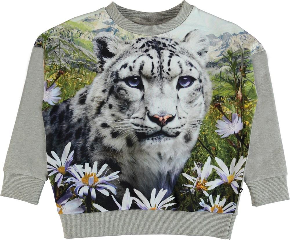 Maxi - Mountain Leopard - Oversized grey sweatshirt.