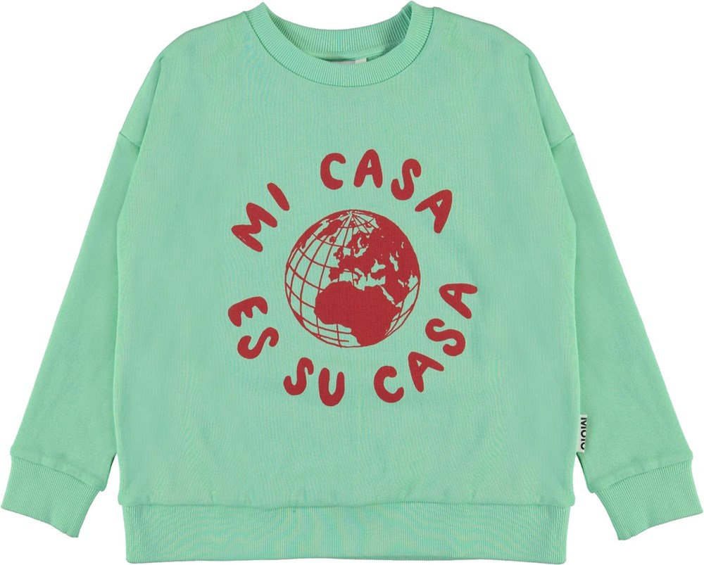 Maxi - Pistachio - Green sweatshirt with map of the world print