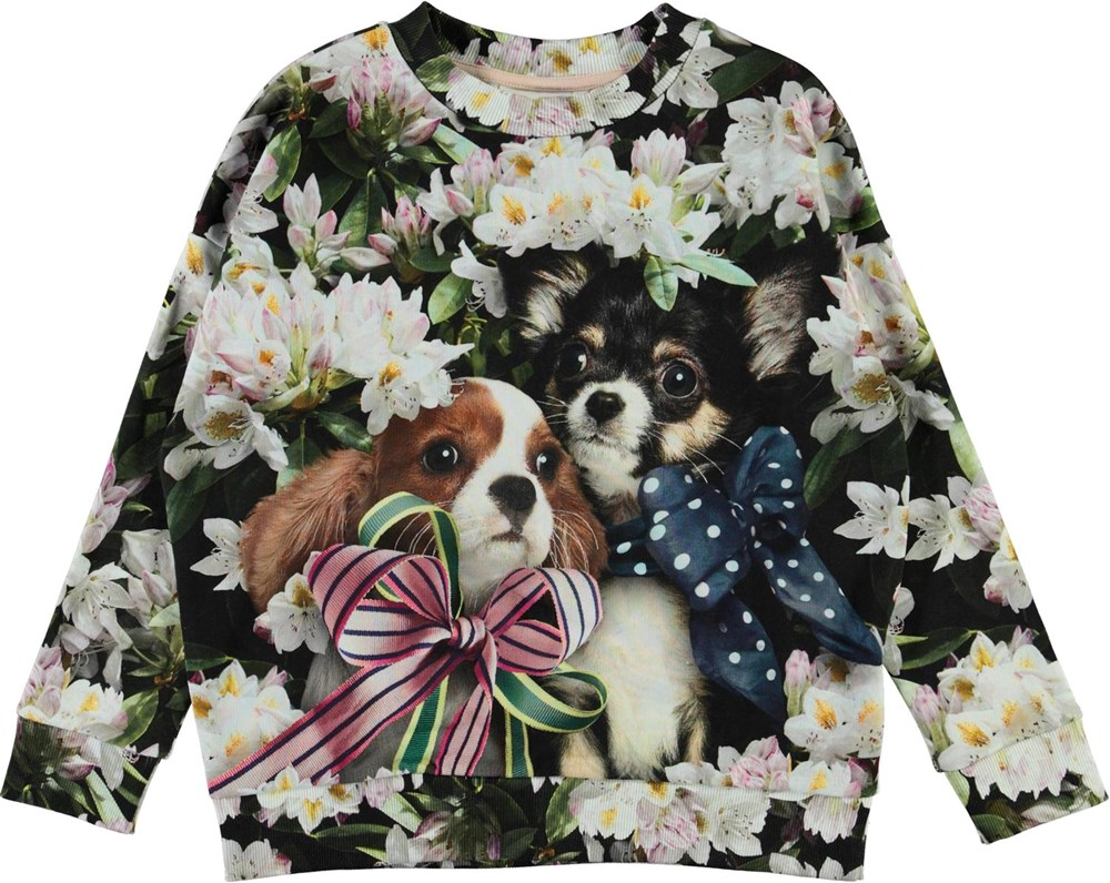 Maxi - Pretty Puppies - Sweatshirt with flowers and dogs