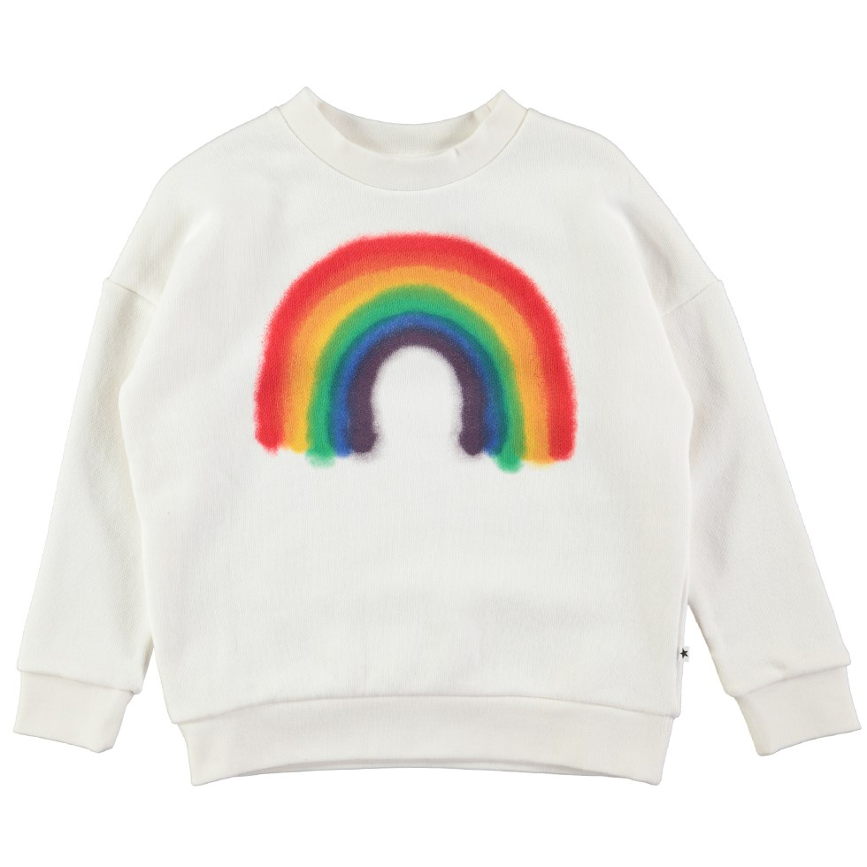 Maxi - White Star - White oversized sweatshirt with spray painted rainbow