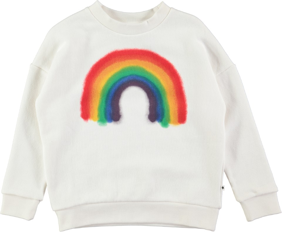 Maxi - White Star - White oversized sweatshirt with spray painted rainbow