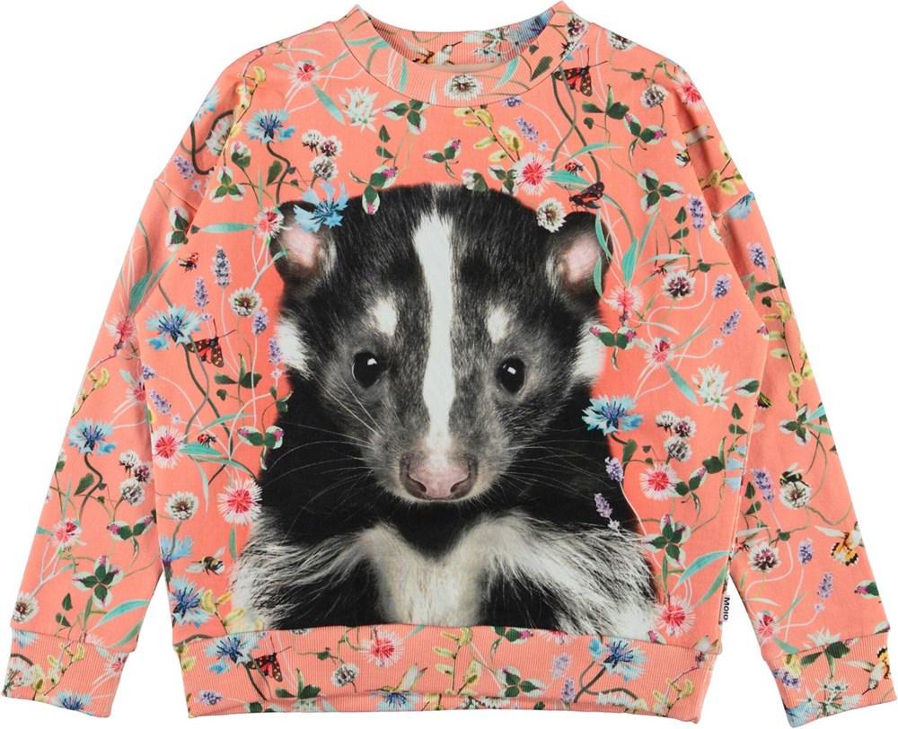 Maxi - Skunk Portrait - Coral coloured sweatshirt with badger