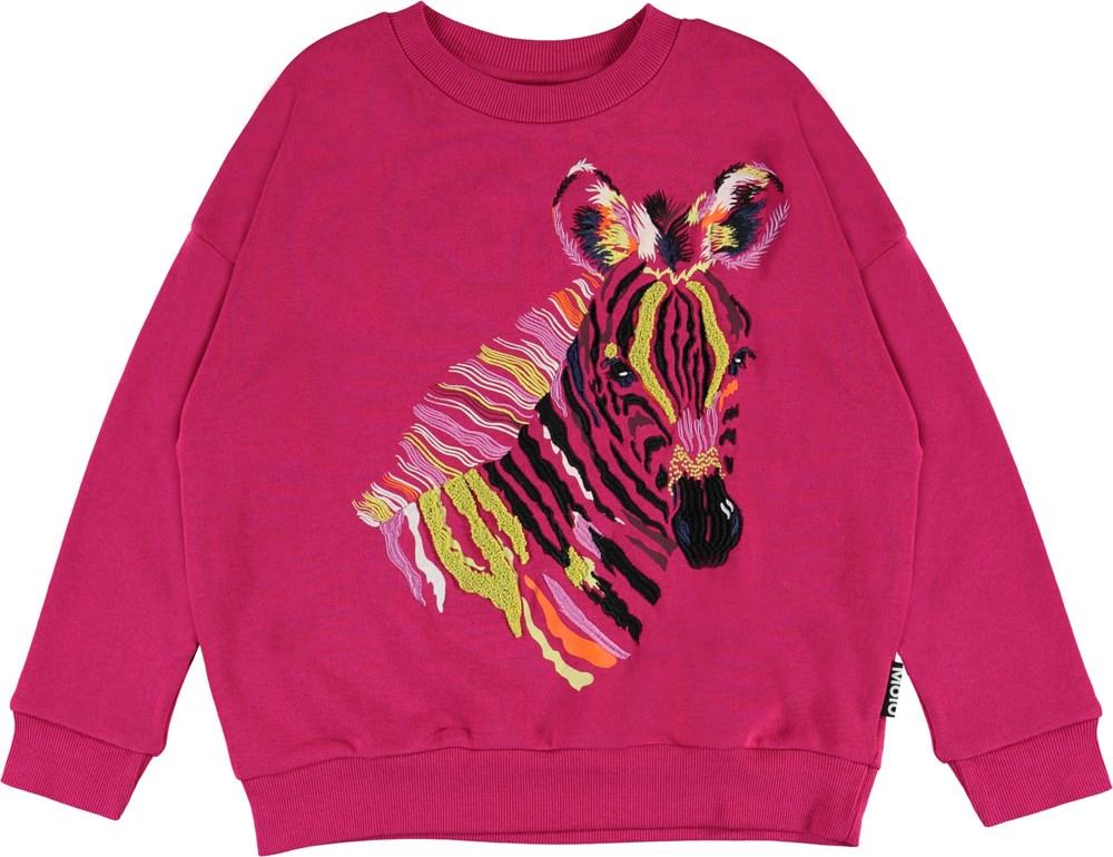 Maxi - Zebra Foal - fuchsia sweatshirt with zebra
