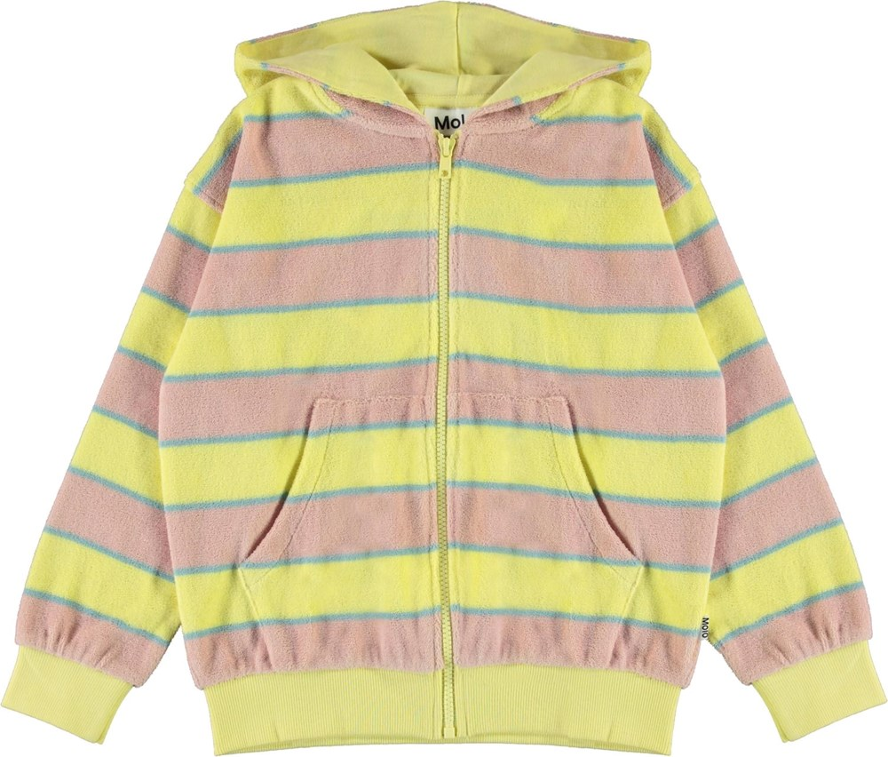 Mel - Ice Cream Stripe - Yellow and rose organic, terry hoodie