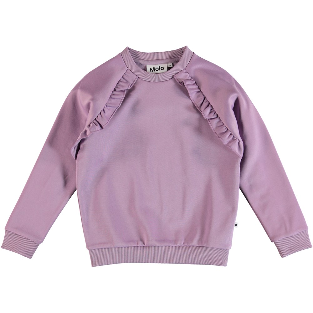Michaela - Alpine Flower - Purple sweatshirt with ruffle edge.