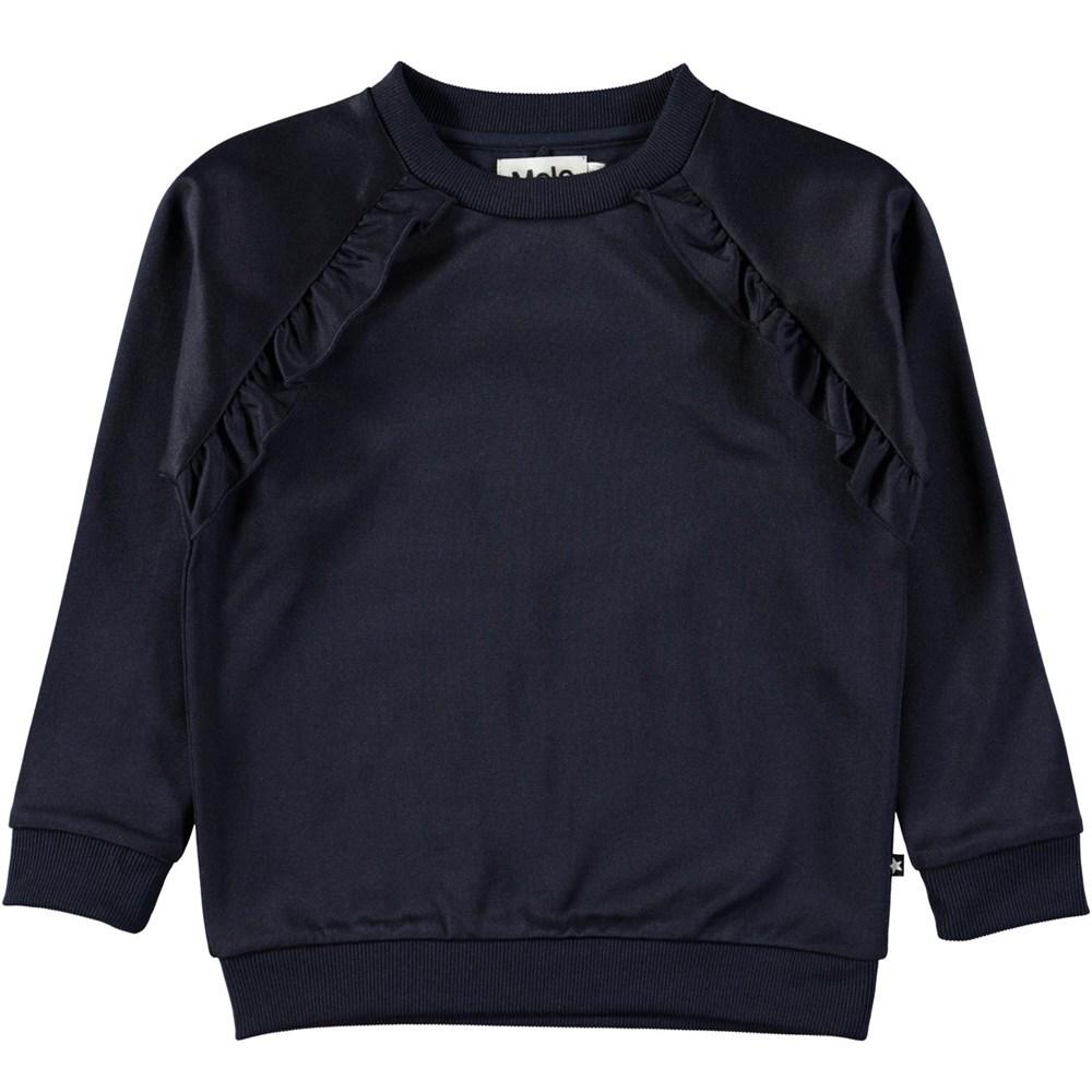 Michaela - Dark Navy - Dark blue sweatshirt with ruffles