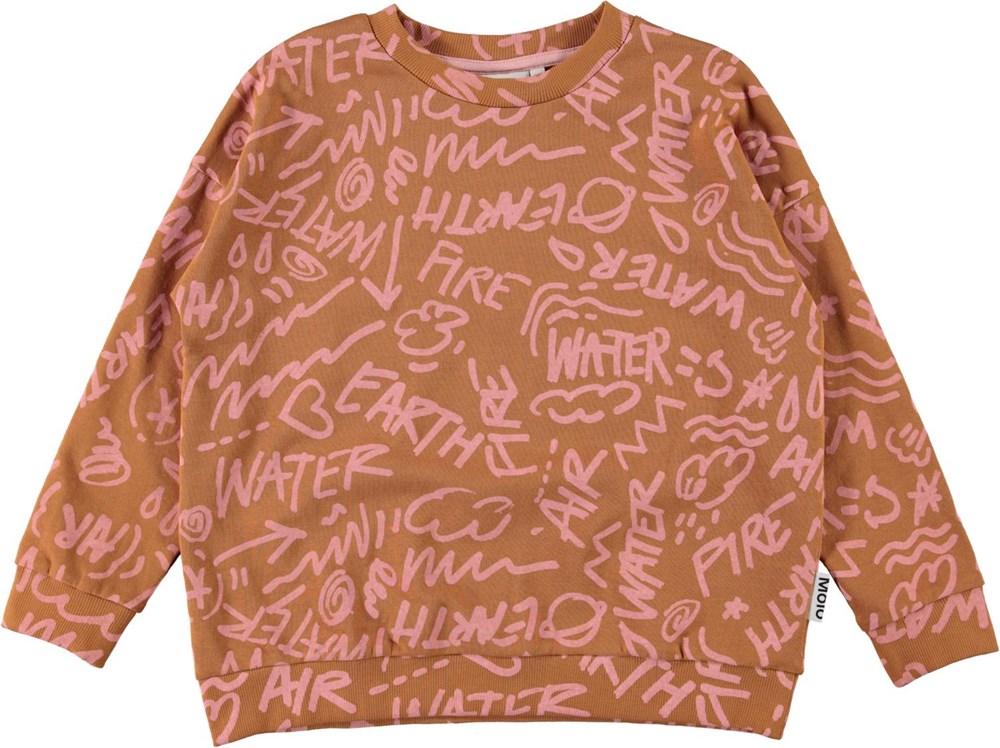 Mika - All Elements - Brown organic sweatshirt with pink symbols