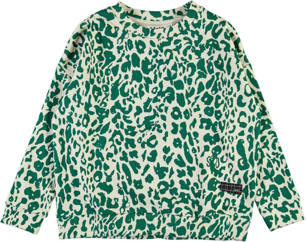 Mika - Green Leopard - Sweatshirt with green leopard pattern
